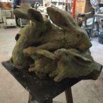 Conigli - fusione in bronzo